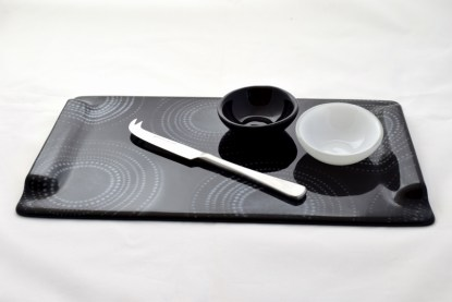 Handcrafted Fused Glass Serving Set in black and white