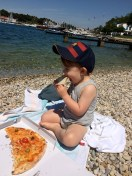 Pizza am Strand