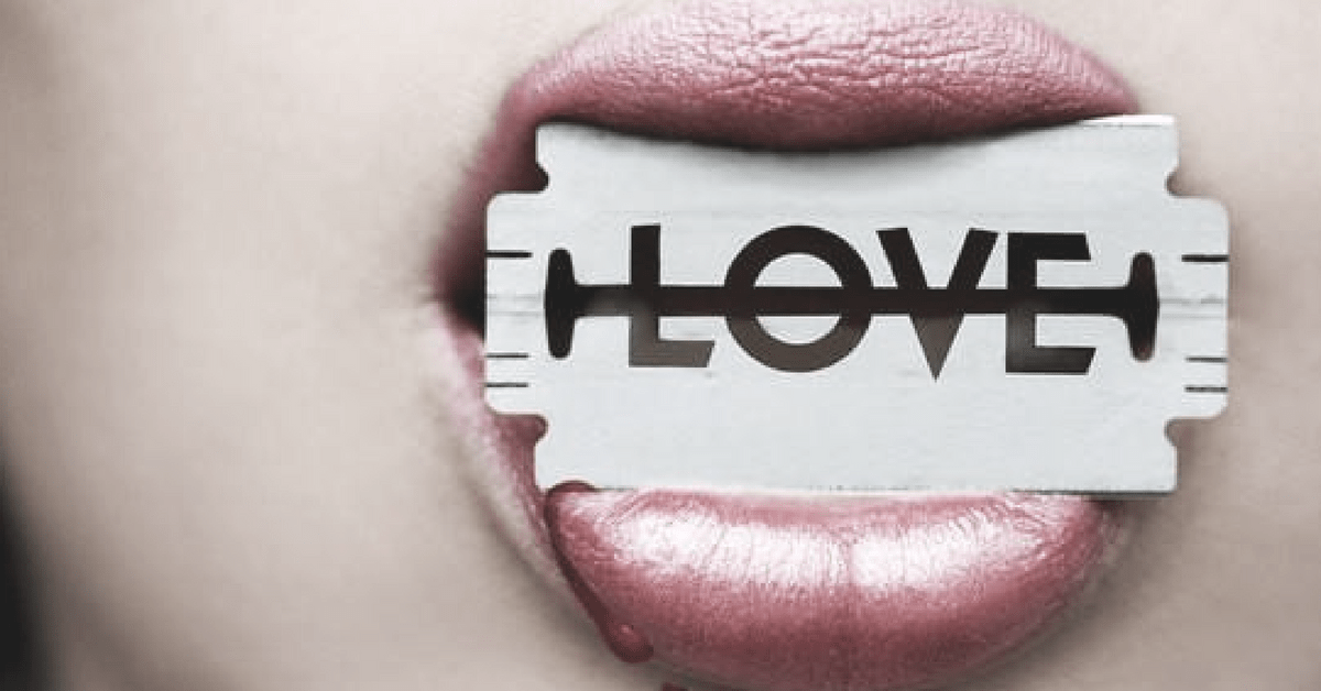 "A razorblade that says ""Love"""