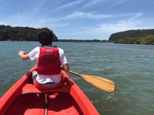 Kayaking down the Puhoi river.