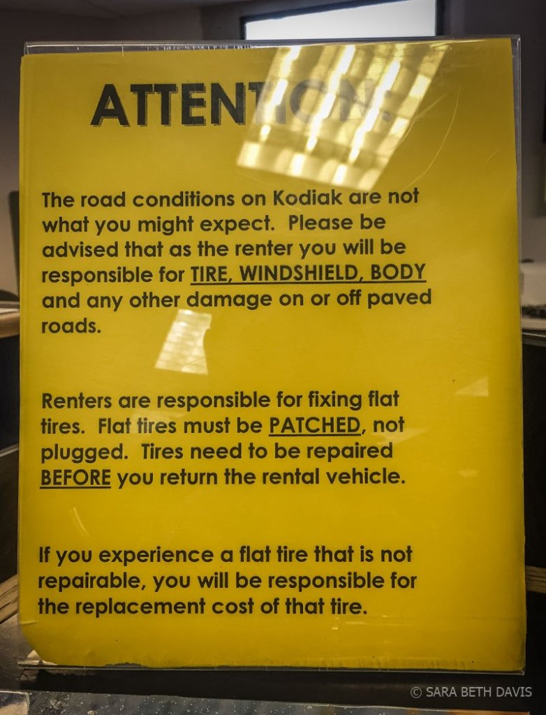 Kodiak Island Car Rental Notice
