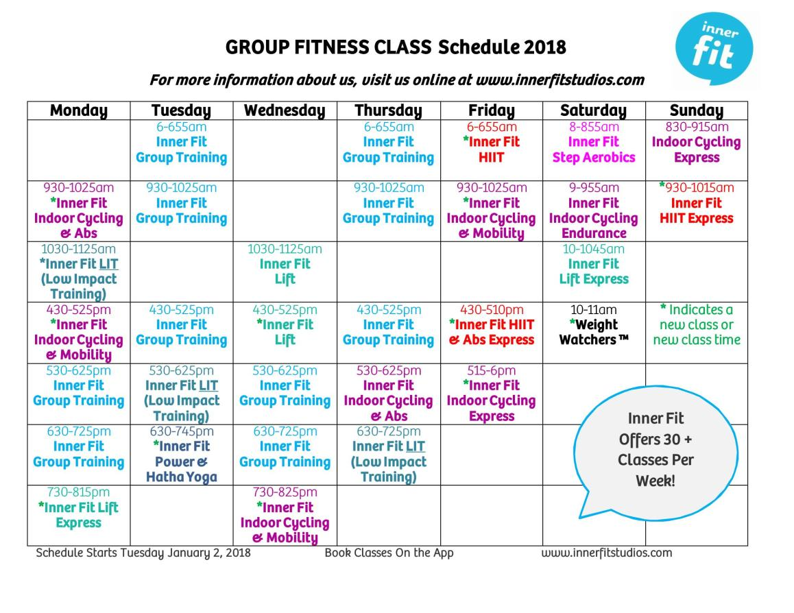 Inner Fit Group Fitness Schedule 2018 Updated January 1 2018_Page_1