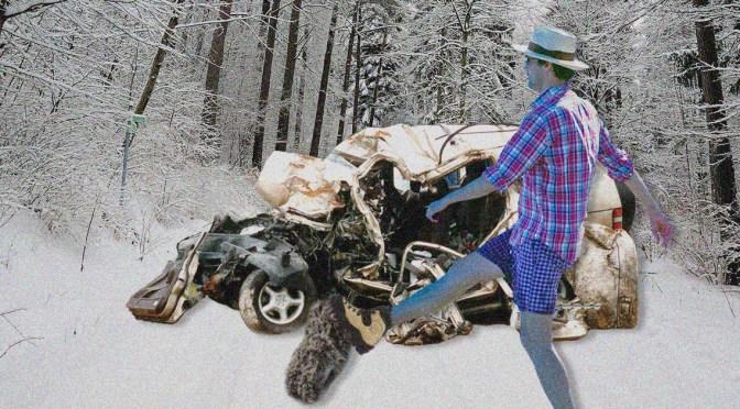 Man Kicks Snow Off Tires, Car Falls Apart