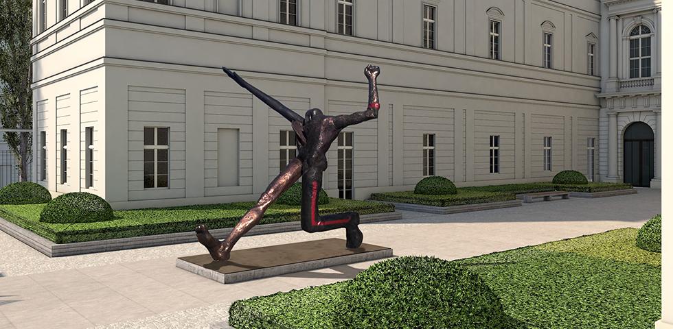 Geplanter Museumsinnenhof mit Wolfgang Mattheuers Jahrhundertschritt, copyright VG Bild-Kunst, Bonn 2015