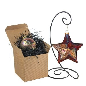 Raku Ornaments by J. Davis Studio - gift boxed and displayed on a shelf