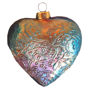 J Davis Studio Tapestry Heart Raku Ornament
