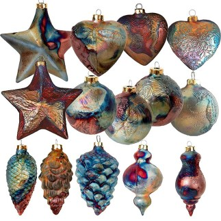 Mixed Dozen J. Davis Studio Raku Ornaments