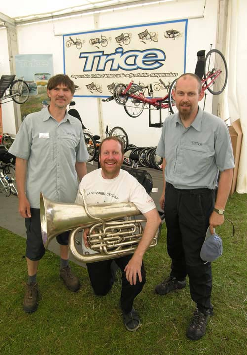 Neil Selwood and Chris Parker from Inspired Cycle Engineering join me at their trade stand, shortly after agreeing to support Inner Tuba ... smiles all round.