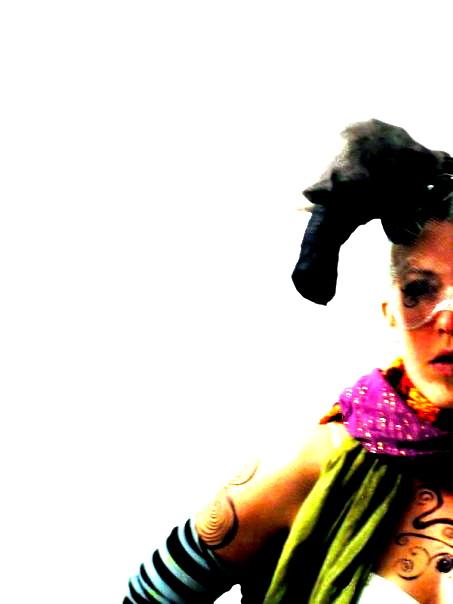 Halloween costume, San Francisco 2005. Wire mesh, pantyhose, paper, googly eyes.