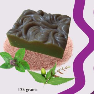 Himalayan salt, neem,  tulsi cleansing & clearing soap