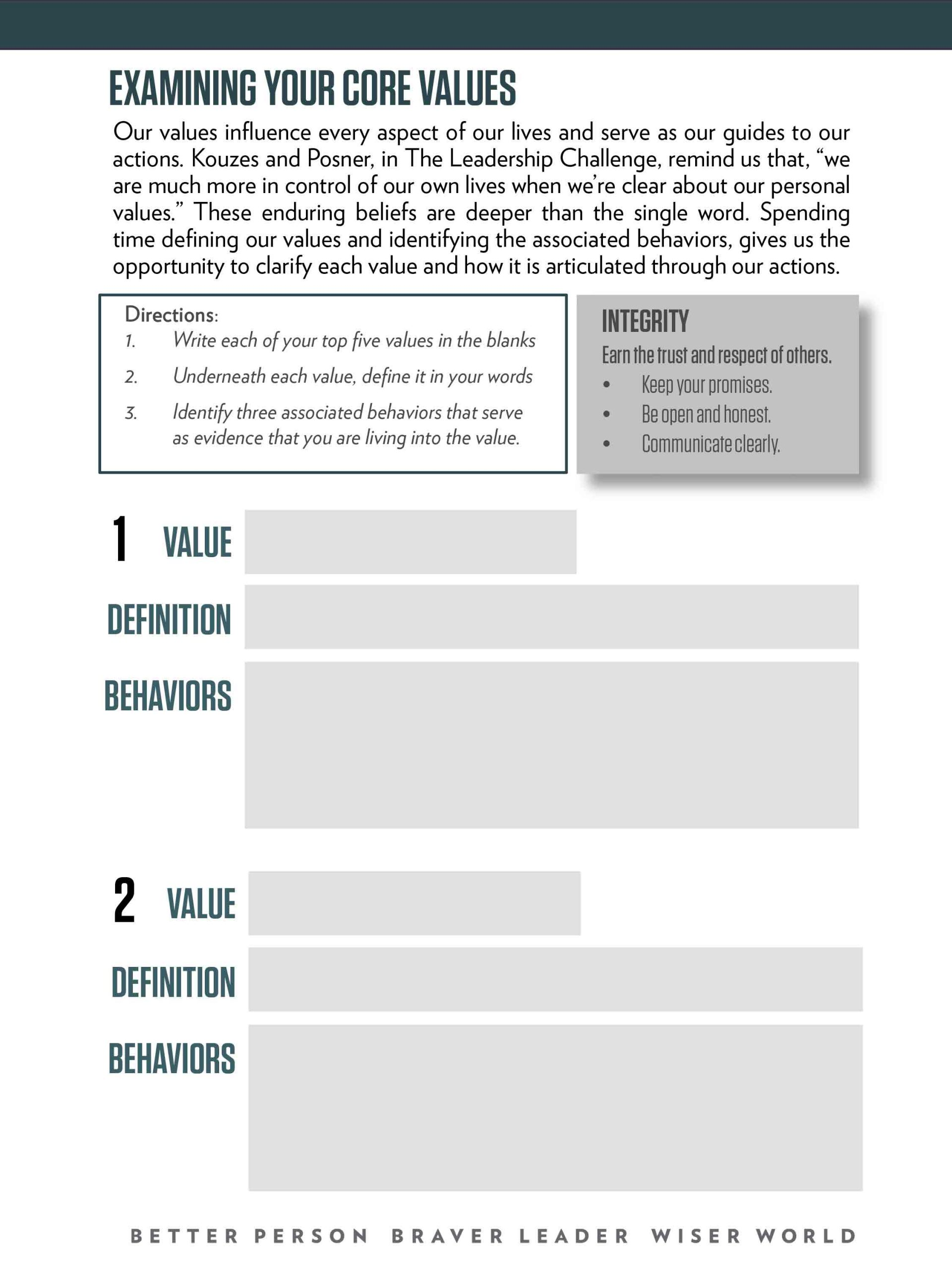 Examining Your Values Worksheet Fillable 1