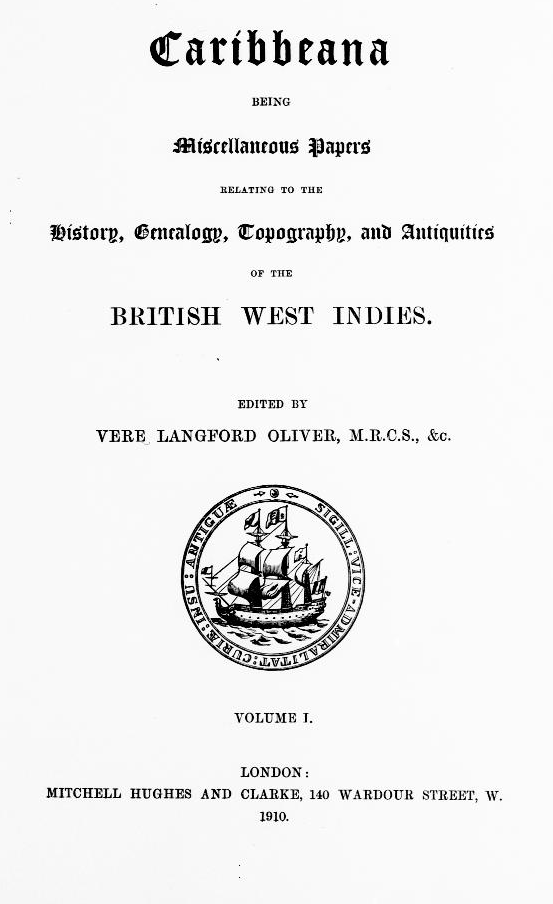 Title page of Caribbeana, volume 1.