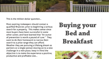 Voice of Innkeeping magazine about Buying a B&B