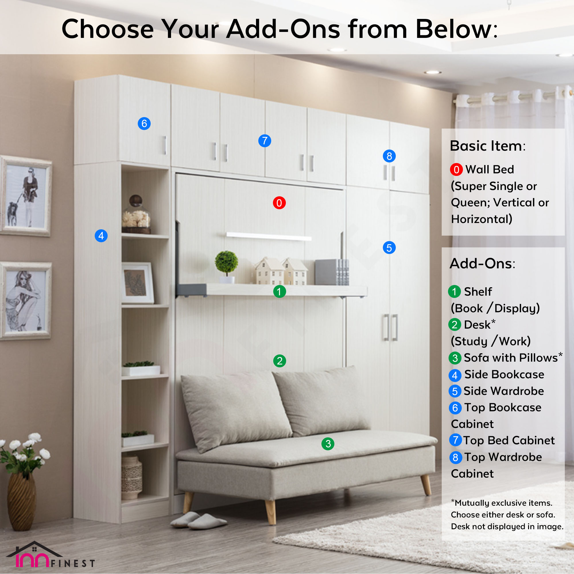 Cabinet Super Single Horizontal Hidden Wall Bed Space