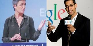 Margrethe Vestager, commissaria europea e Sundar Pichai, ceo di Google
