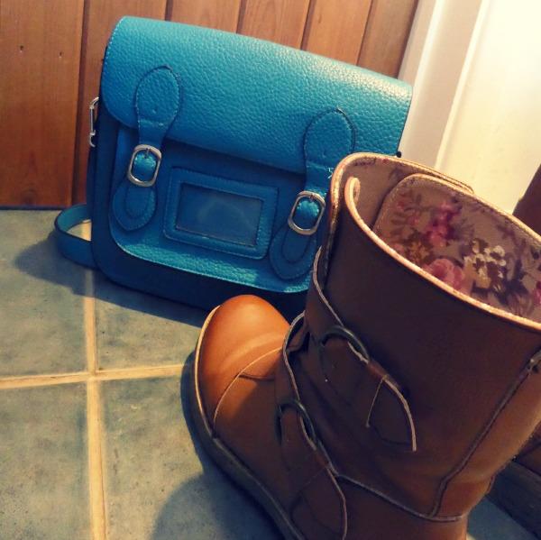 turquoise satchel