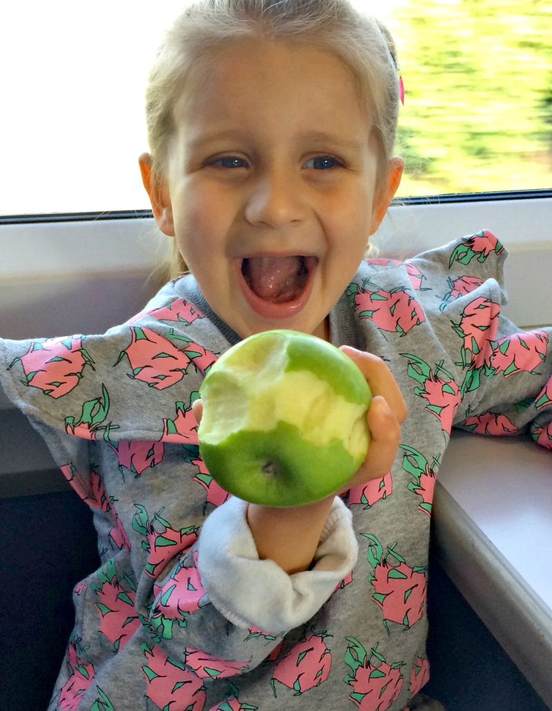 Addison and an apple