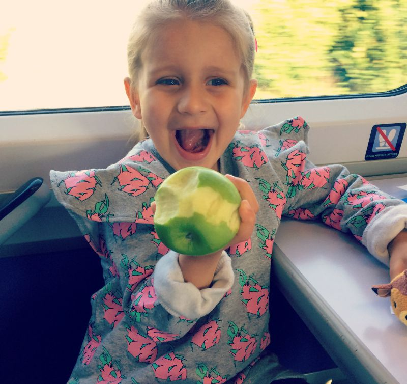 Addison and her apple
