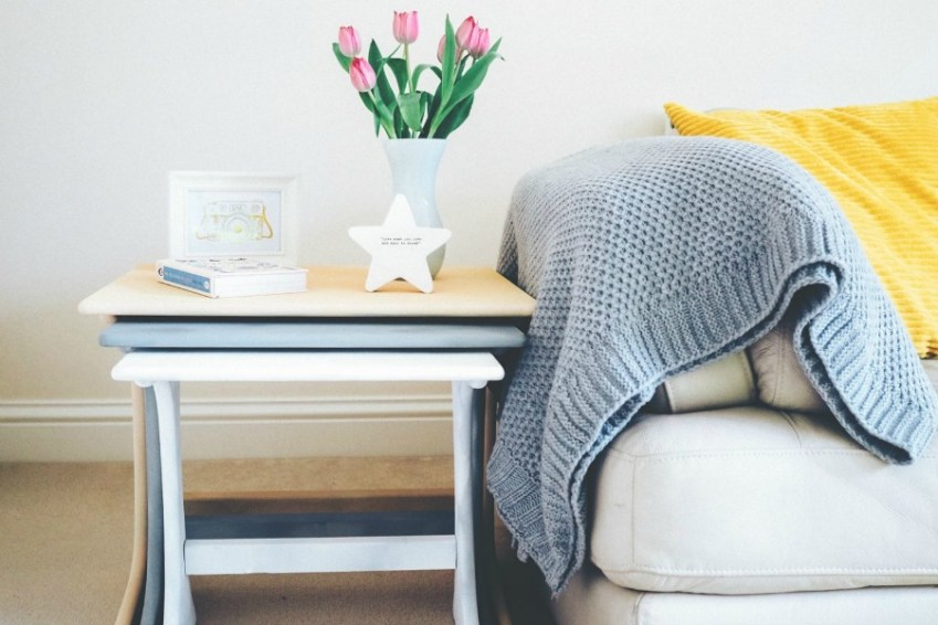 Beautiful Living Room with grey and mustard theme from Innocent Charms Chats