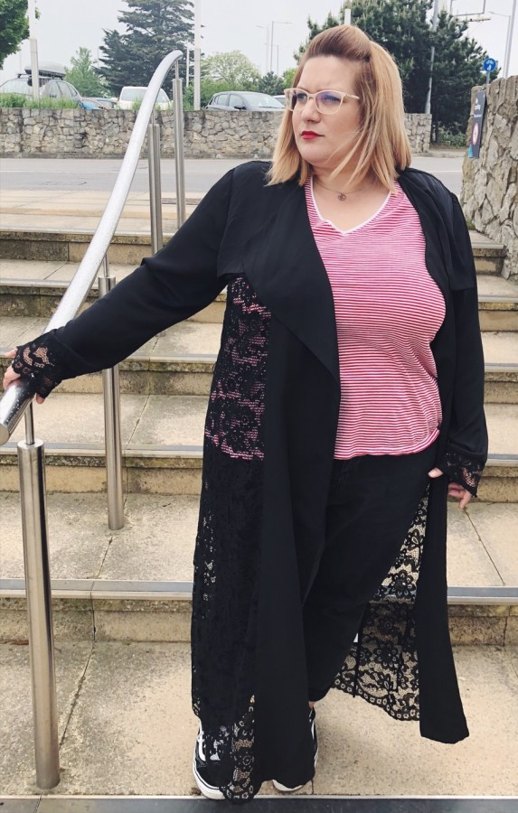 Plus Size Fashion should be on trend and high end, so check out my review of this gorgeous Lace Trench from Elvi at Innocent Charms Chats
