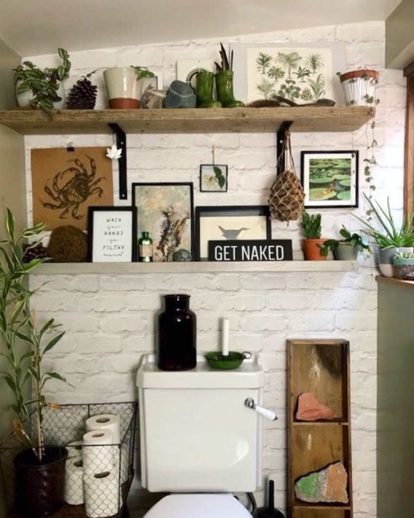 Guest toilet inspiration over at Innocent Charms Chats featuring a Green, Natural and Black Colour Theme