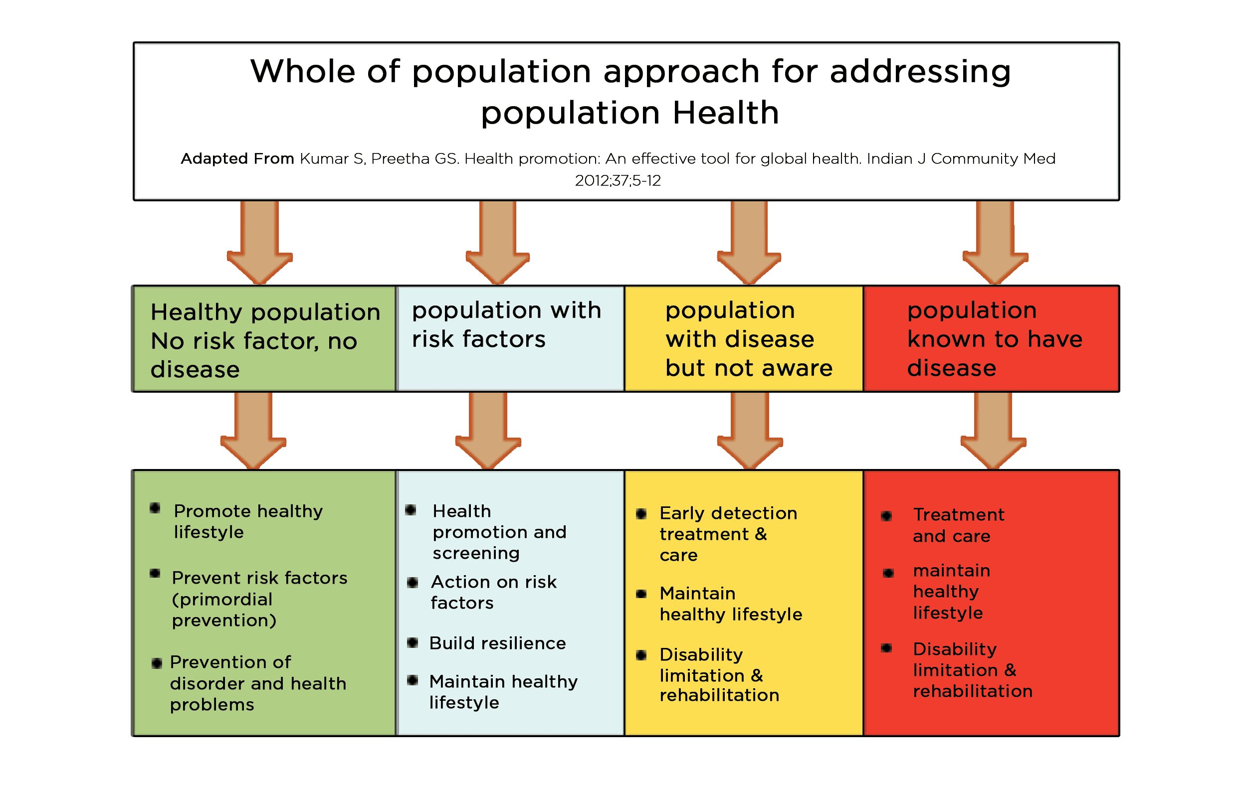 Conceptual framework to address health needs of the whole population