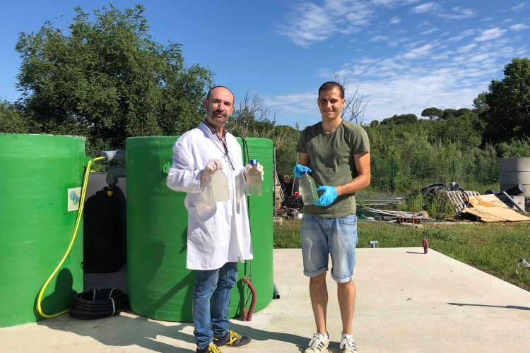 Happy to start testing the Daphnia filter - Professor Jordi Colomer (left) and Dr. Narcis Pous from the University of Girona