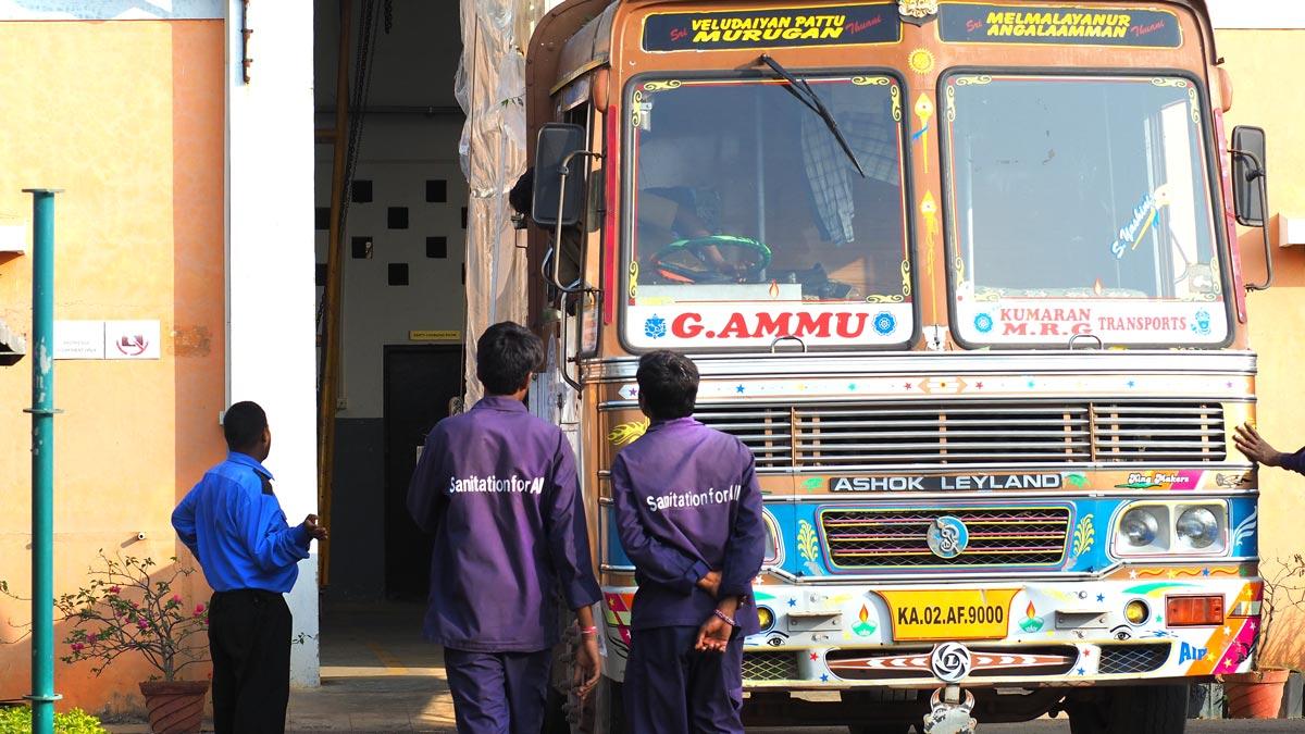 INNOQUA India demo site installation: tanks arriving