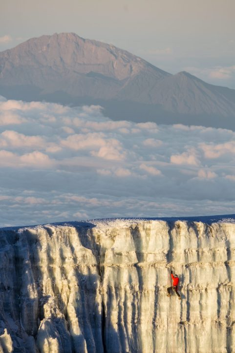 Will Gadd  ice climbing near the summit at 19,000 feet on the glacier ice on Mount Kilimanaro in Tanzania, Africa on October 31, 2014.