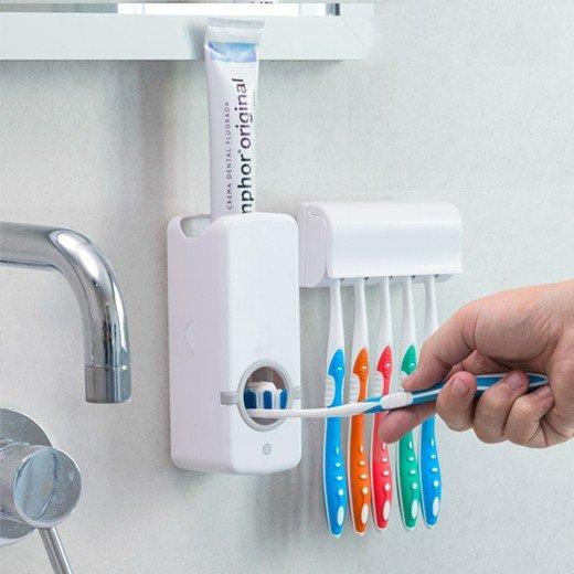 Dispensador de pasta de dentes com suporte para escovas