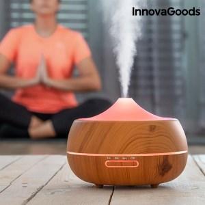 Humidificador difusor de aromas c/luzes Led e efeito madeira