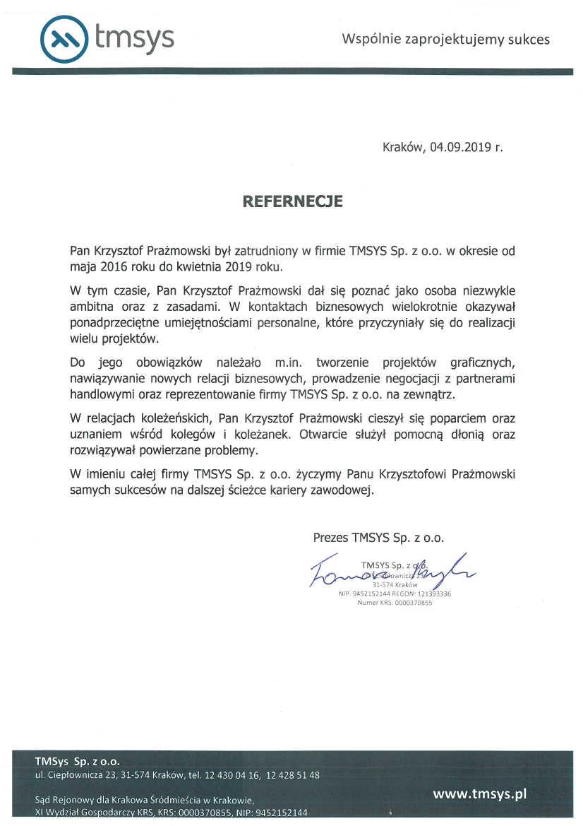 Firma TMSYS Sp. z o.o.