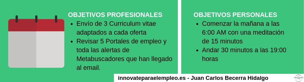 Objetivos profesionales y personales para la búsqueda de empleo