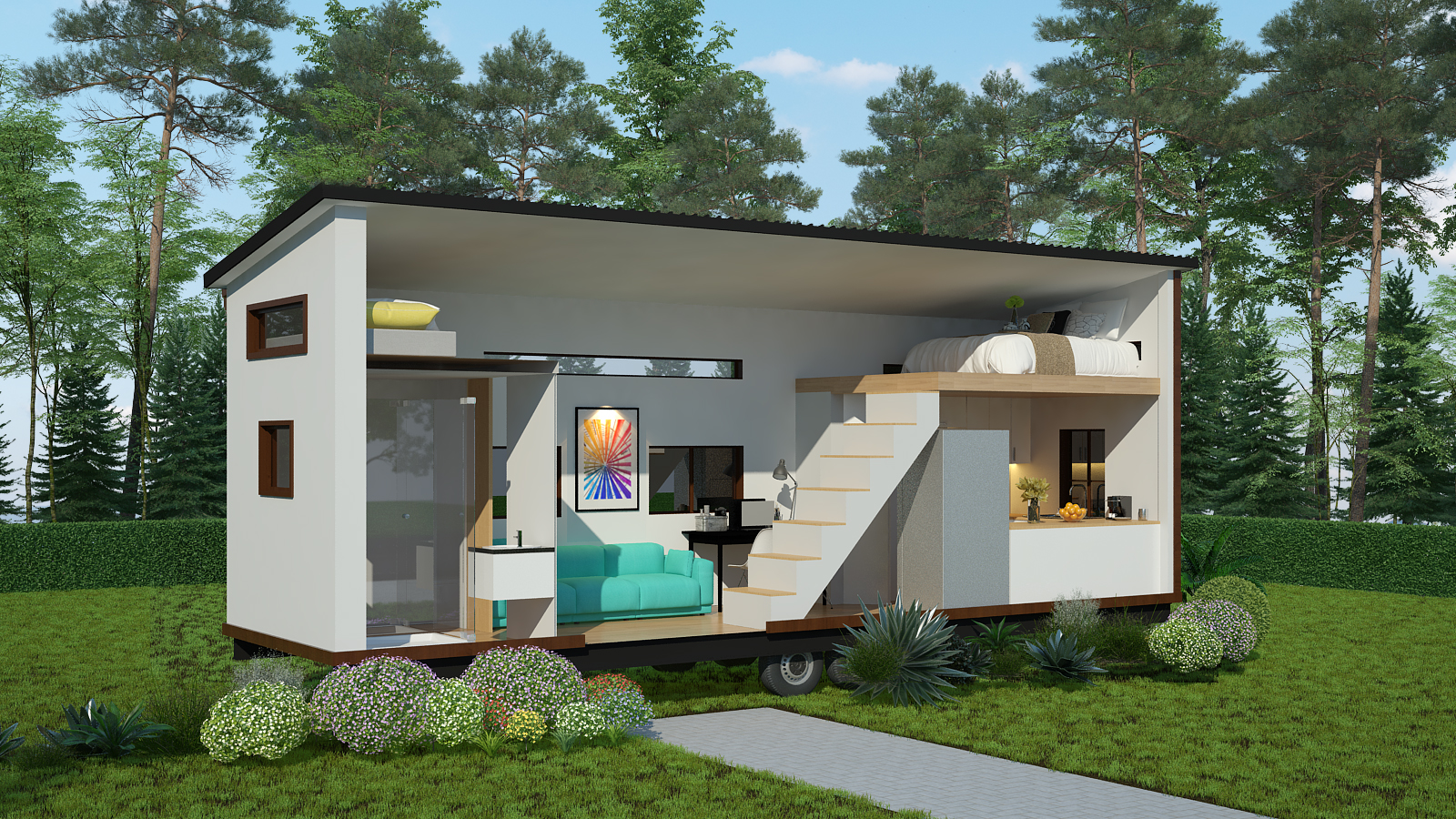 Tiny home cut-away view to show custom interior