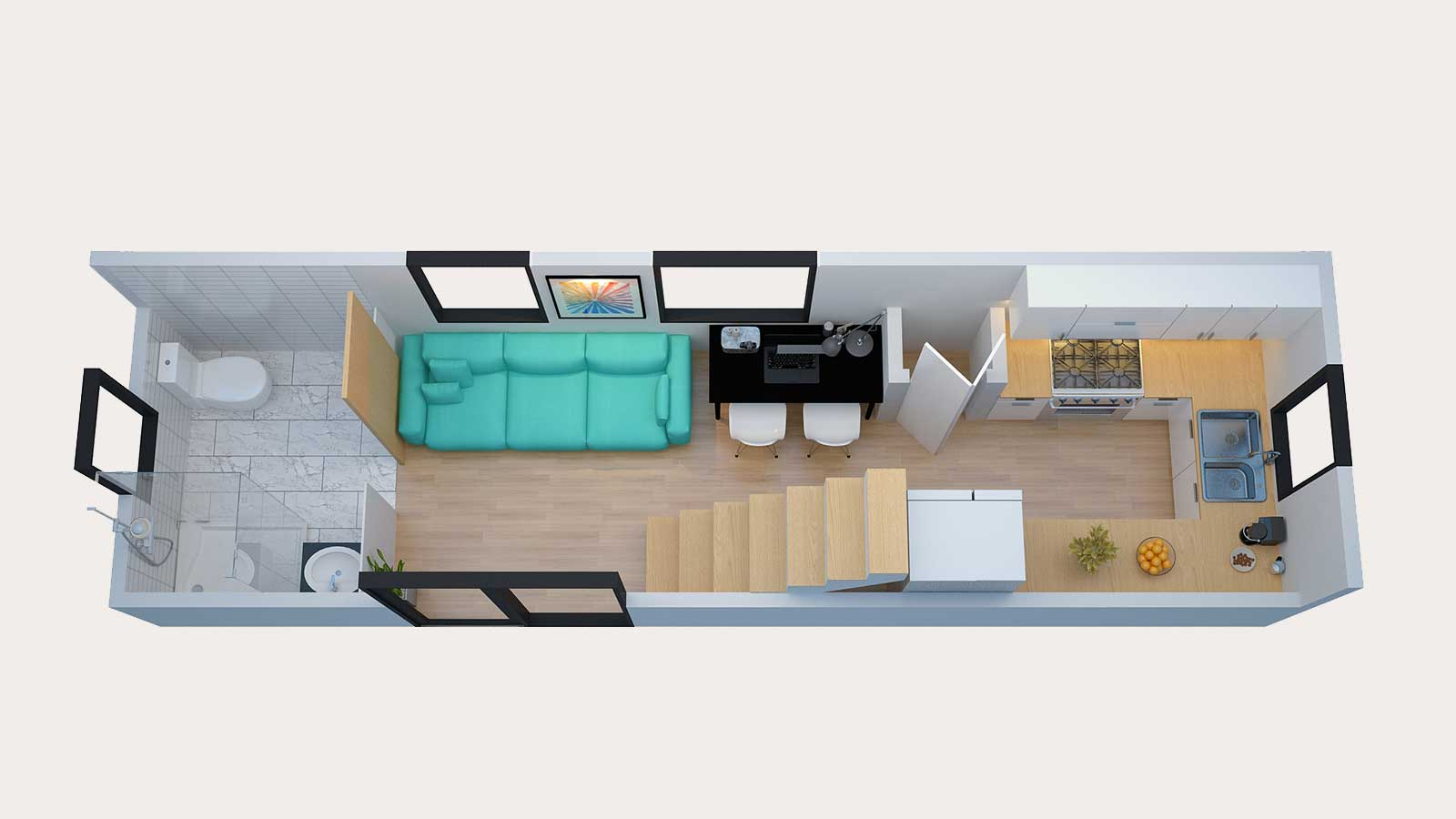 Floor plans of tiny home model