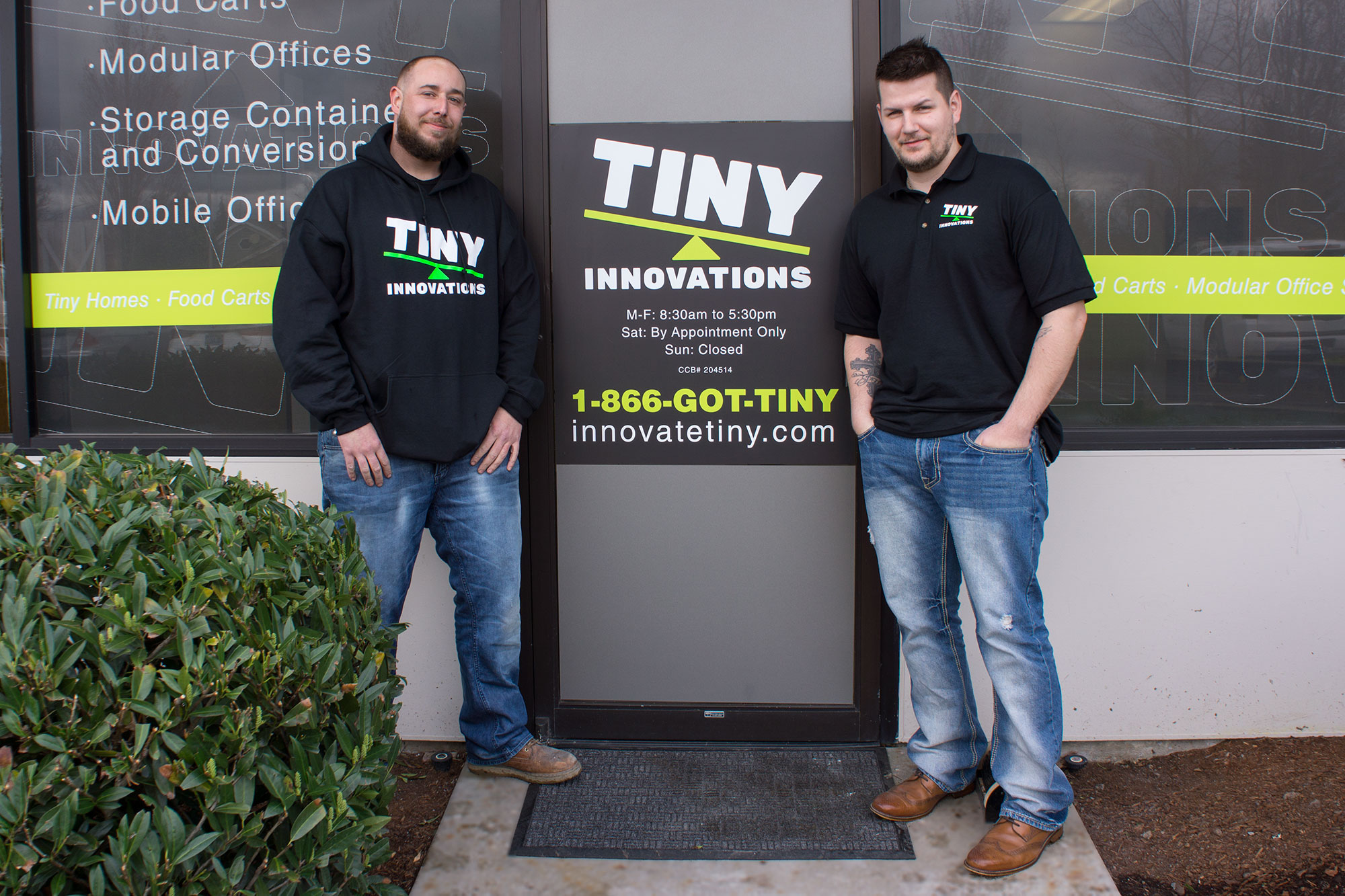 Tiny Innovations Founders outside of their Tiny Living shop