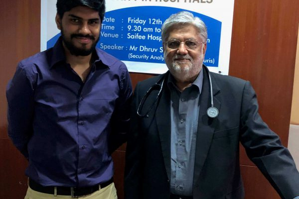 Dhruv Singh & Dr. Iqbal Bagasrawala at Cybersecurity training for healthcare professionals and hospitals