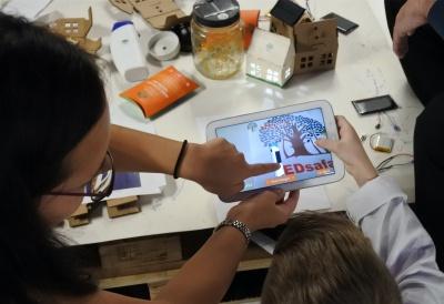 Students learning about solar on LEDsafari solar App