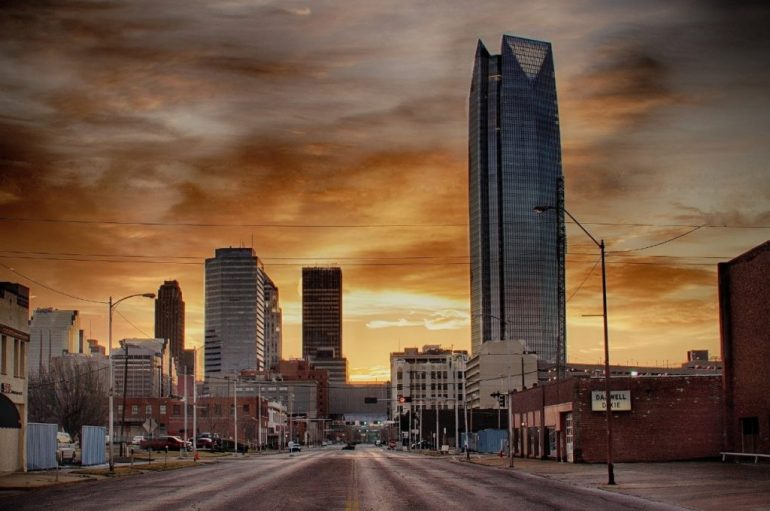 Downtown Oklahoma City at sunset