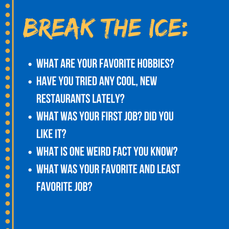 an infograph listing some ways to break the ice