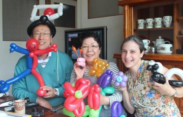 Sharing my balloon twisting skills with Sakae and Michiko