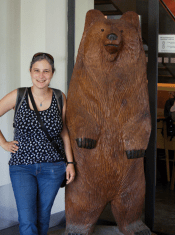 Me with a bear statue