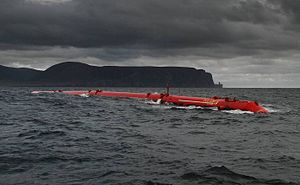 Pelamis wave energy converter on site at the E...