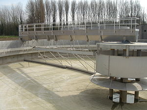 sedimentation tank at a sewage treatment in Me...