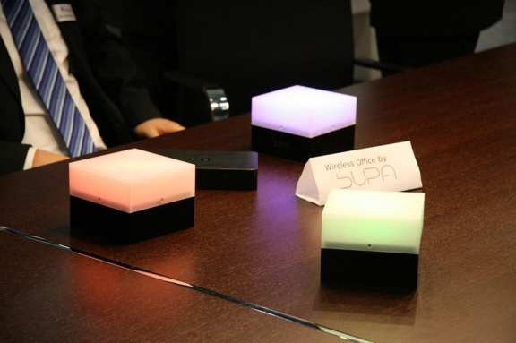 These office lamps are powered cordlessly.