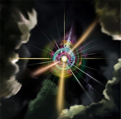 Artistic illustration of the synthetic magnetic monopole, courtesy of Heikka Valja.