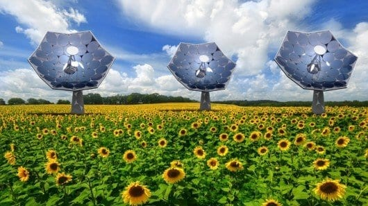 Equipped with an array of multi-junction photovoltaic chips, each of the IBM 'sunflowers' can supply the energy needs of several homes (Image: Airlight Energy/dsolar) Click on this picture for VIDEO