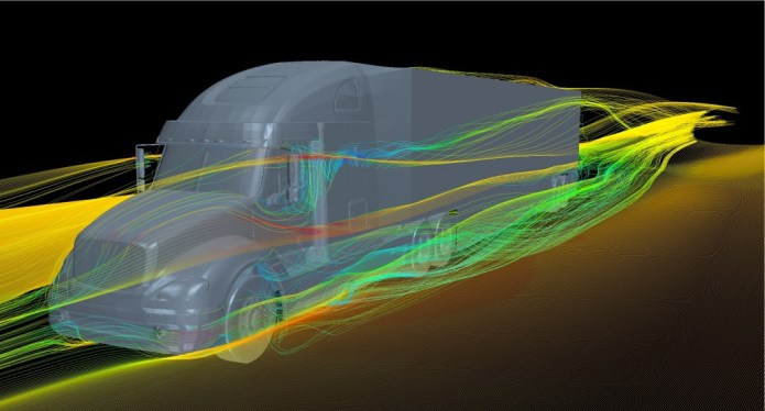 The computational images represent a single flow simulation around a typical on-the-road heavy vehicle at highway speed from different viewpoints. In this simulation, the trailer is aerodynamically treated by skirts and a tail fairing. The simulation incorporates a full-scale high-fidelity truck model with moving wheels. The flow field around the vehicle is highlighted by streamlines which are colored by velocity magnitude.