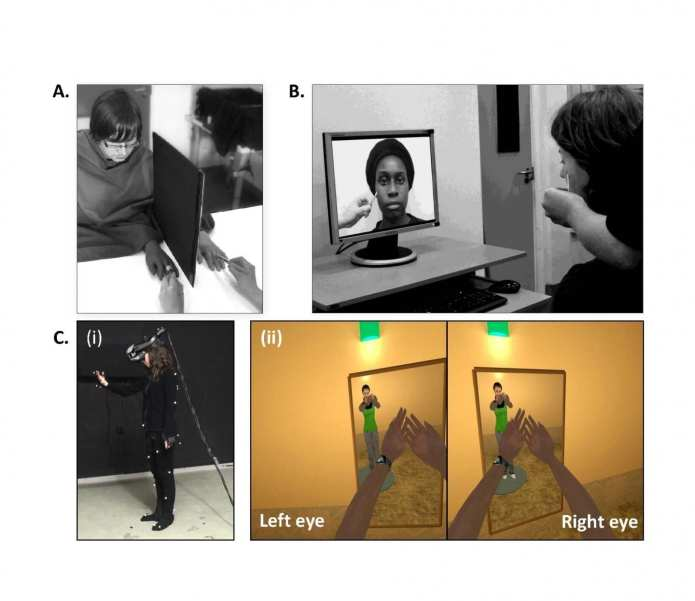 (A) The Rubber Hand Illusion: Light-skinned Caucasian participants observe a dark-skinned rubber hand being stimulated in synchrony with their own unseen hand. This elicits a shift of body ownership to incorporate the other-race limb. Adapted and reproduced, with permission, from reference [9]. (B) The Enfacement Illusion: Participants viewed the face of a racial outgroup member being stimulated in synchrony with their own to induce a sense of ownership over the observed face (see reference [14]). (C) Immersive Virtual Reality: (i) A participant wears a wide field-of-view stereo head-tracked head-mounted display and a motion capture suit for real-time body tracking. (ii) This is the participant's view of the situation, whereby she can see her virtual body both directly and reflected in the mirror, in stereo as shown. The body she sees could be dark-skinned, light-skinned, or purple; in this case, the virtual body is dark skinned whereas she is light skinned. Credit: Trends in Cognitive Sciences, Maister et al.