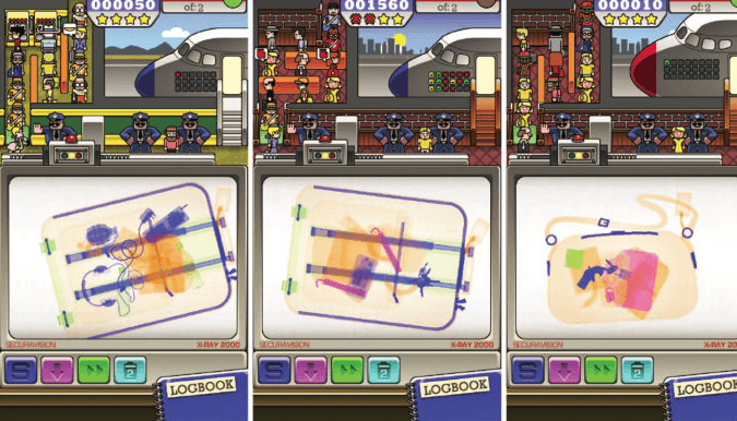 Sample images from Airport Scanner: the left image contains one target (hand grenade), the middle contains two identical targets (two exemplars of the dynamite stick target type), and the right image contains two different target types (derringer, gasoline can). Airport Scanner images appear with permission from Kedlin Co. Copyright 2014 by the Kedlin Company.